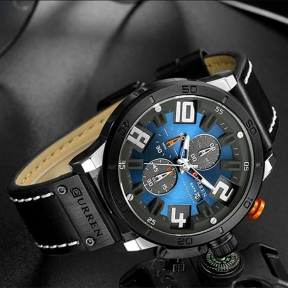 Promoção Relógio Masculino Couro Esportivo Funcional Barato