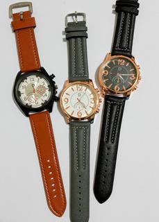 Relojes Pulsera Hombre Por 3 Unidades Eco Cuero