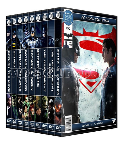 Imagen 1 de 5 de Batman Saga Completa 9 Peliculas Coleccion Dvd Darknight Dc