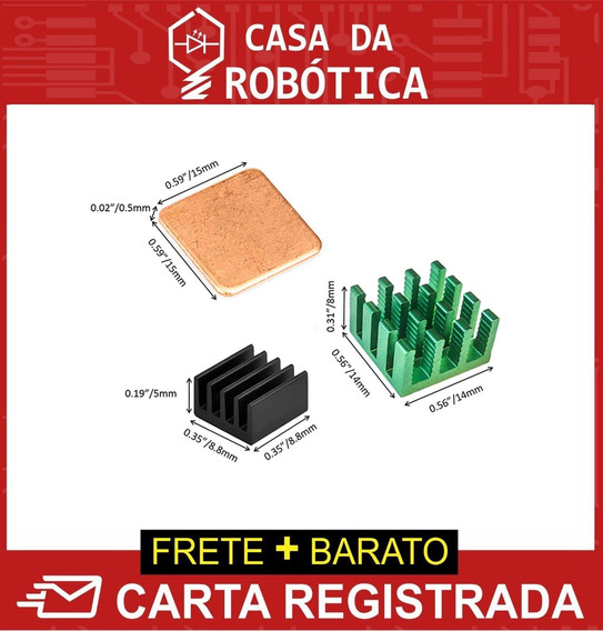 Kit 3 Dissipador Raspberry Pi 2 3 B B+ Alumínio Adesivo Cola