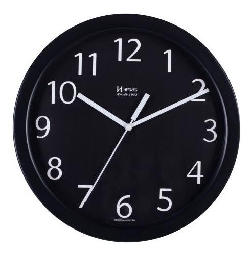 Relógio Silencioso Parede Alumínio 25cm Preto Herweg 6718s