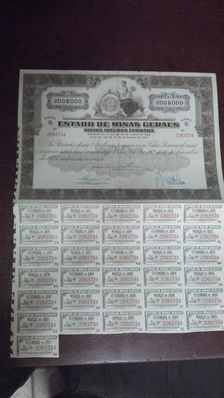 Apólice Estado De Minas Gerais Dívida Interna Fundada - 1934