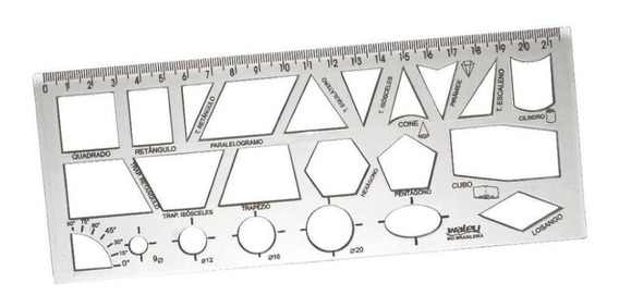 Régua Geométrica Waleu - Cristal