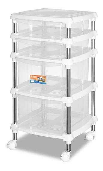 Organizador Multiuso Branco Quarto/cozinha 620-4 Gaveteiro