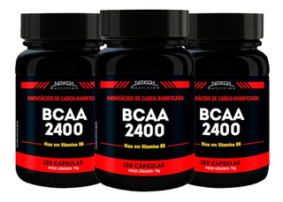 Kit 3 Bcaa 2400 - 100 Cápsulas - Nitech Aminoácido Combo