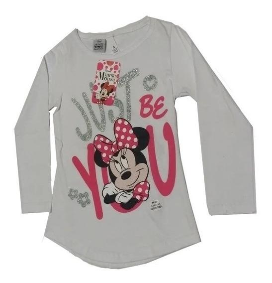 Remera Nena Disney Mickey Minnie Mouse Algodón Manga Larga J