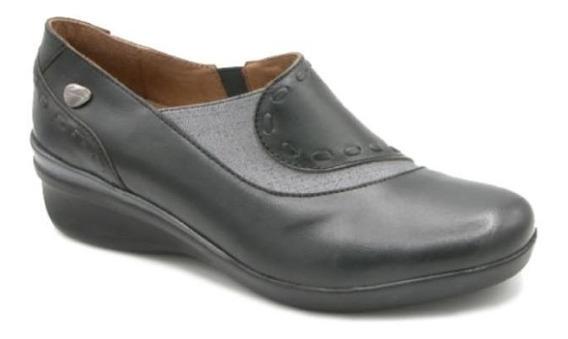 Zapato Cavatini Flor Brillo Negro - Zapato Con Elastico - 40