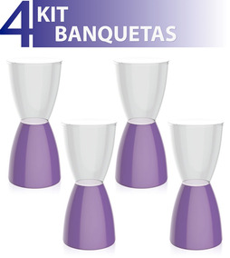 Kit 4 Banquetas Bery Assento Cristal Base Color Roxo