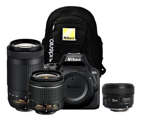 Cámara Nikon D3500 + Lente 18-55mm +70-300mm + 35mm Yong