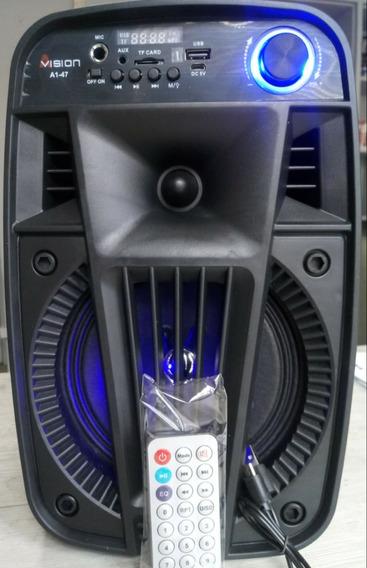 Caixa De Som Avision A1-47 Bluetooh Karaoke Rádio Aux Super