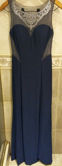Vestido De Fiesta, Azul, Largo, Transparencia, Importado