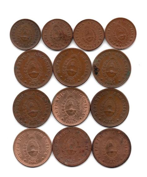 Argentina Lote 13 Monedas 1 Y 2 Centavos Cobre 1939-48 Difer