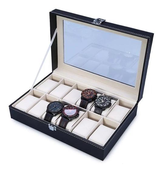 Estuche Para Relojes Caja Exhibidor Alajero Relojero Con Almohadillas Capacidad De 12 Piezas Envio Gratis