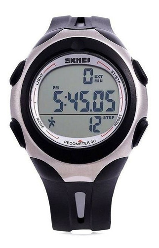 Relógio Pedômetro Masculino Skmei Digital 1107 Preto Prata