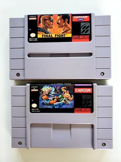 Lote Final Fight 1 E 2 Originais Snes Super Nintendo