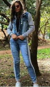 Conjunto De Frio Feminino Jeans Com Moletom Com Capuz