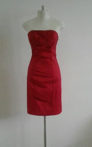 Vestido Tomara Que Caia Justo Vermelho Em Tafetá, Tamanho M