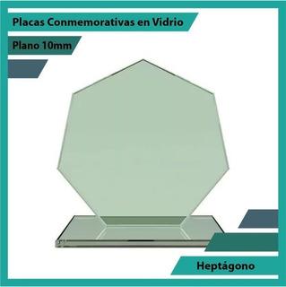 Premiación En Cristal Heptágono Pulido Plano 10mm