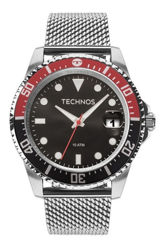 Relógio De Pulso Masculino Technos Prateado