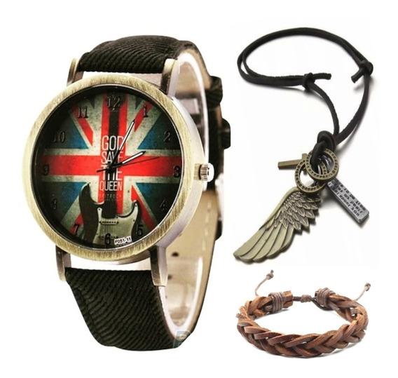 Relógio Moda Casio Inglaterra Guitarra + Colar Asa +pulseira