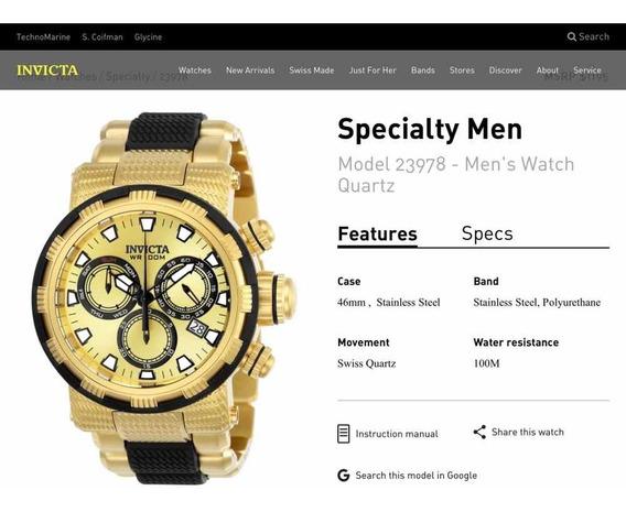 Relógio Invicta Modelo Specialty Man 23978 (100% Original)