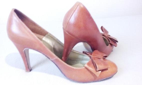 Zapatos Stileto Cuero Suela Con Moño