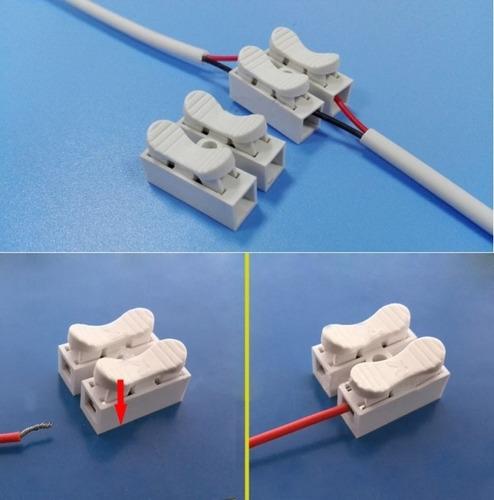 Conector Rapido 2-vias Pvc Para Lamparas Led Multiuso Paq 30