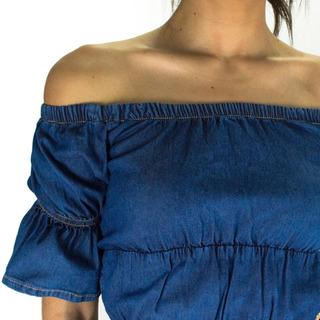 Camisa Cropped Ciganinha Sol Jeans Com Lycra Azul