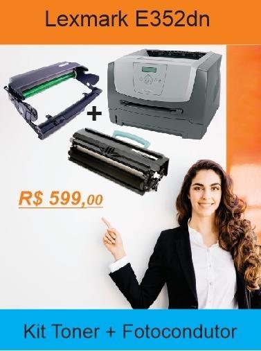 Impressora Lexmark E352dn + Kit Fotocondutor E Toner