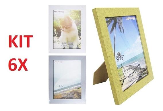 Kit 6 Porta Retrato 13x18cm Luxo Vidro Foto Moldura Painel