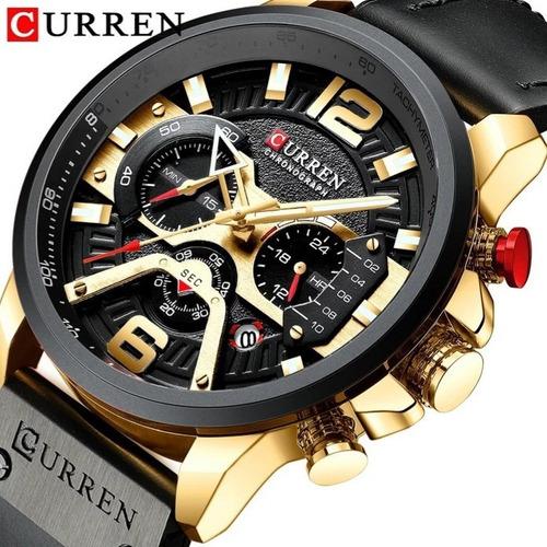 Relógio Masculino Curren 8329 Cronografo Promoção Couro