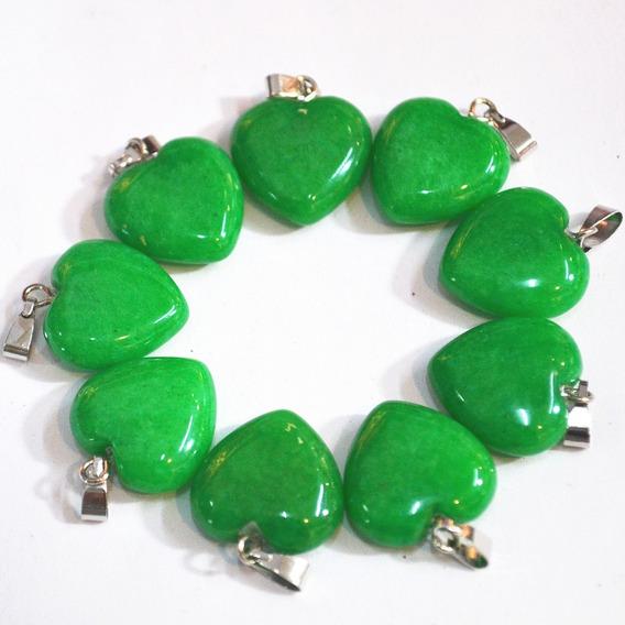 Colar Jade Verde Coração Pequeno Pedra Natural Malásia