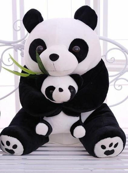 Pelúcia Panda 22 Cm Mamãe E Filho Pronta Entreg