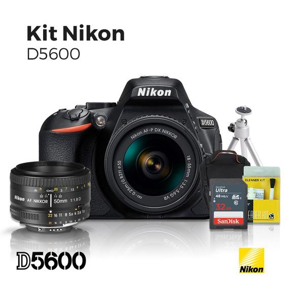 Câmera Nikon D5600 18-55mm +lente 50mm 1.8 D +32gb (c10)+kit