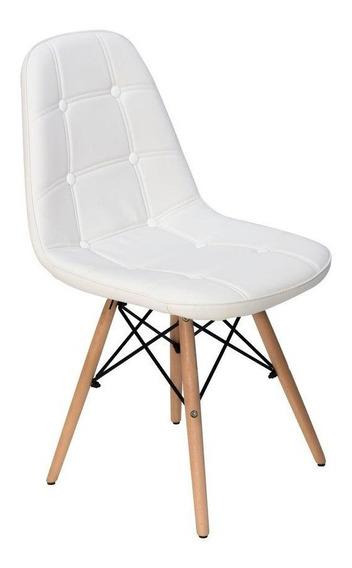 Cadeira Dkr Charles Eames Wood Estofada Botonê