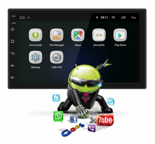 Central Multimídia 2din Universal 7 Mp5 Android 8.1 Go