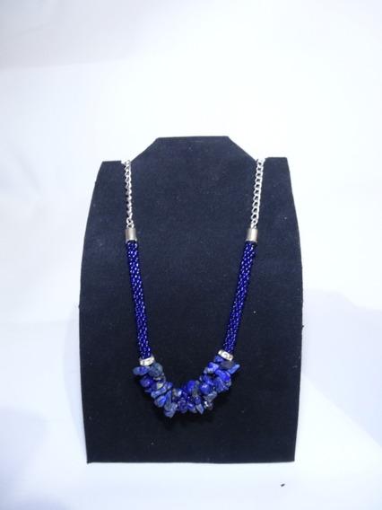 Collar De Piedra Azul Con Plata Tejido