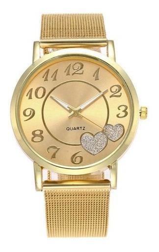 Relógio Feminino Detalhe 2 Corações