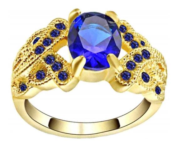 Anel Formatura Feminino Safira Pedra Azul Banhado Ouro 713