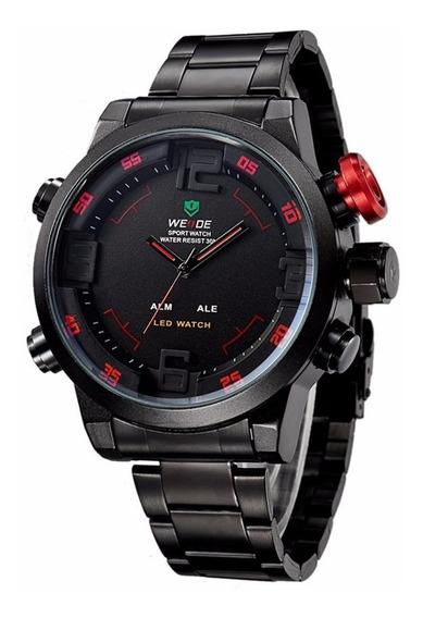 Reloj Analógico Digital Weide Inoxidable Led Rojo