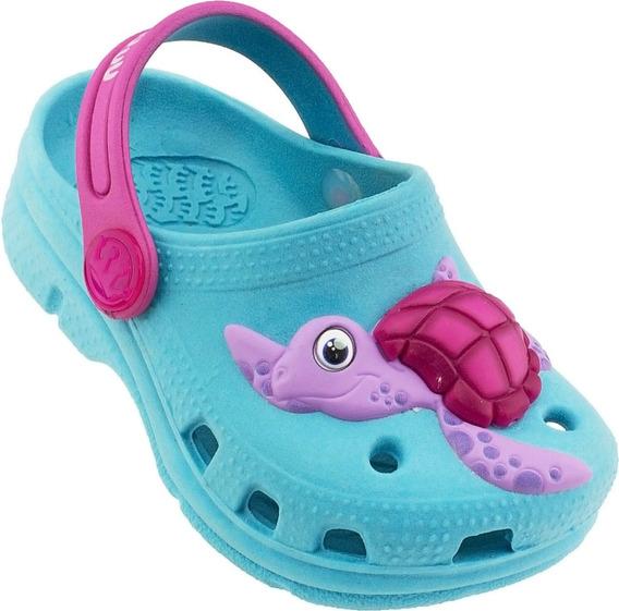 Babuche Crocs Plugt Infantil Tartaruga Azul Turquesa