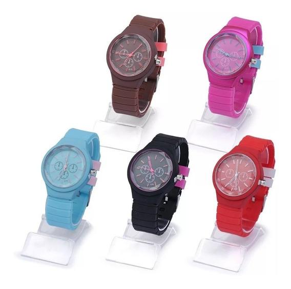 Lote Com 10 Relógio Feminino Silicone Barato Kit Borracha Atacado P/ Revenda Top Modelos Novos Re-02