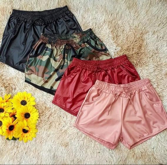 Shorts Feminino Couro Fake Box Tecido Cirre