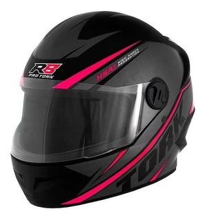 Capacete para moto integral Pro Tork R8 preto, rosa tamanho 56