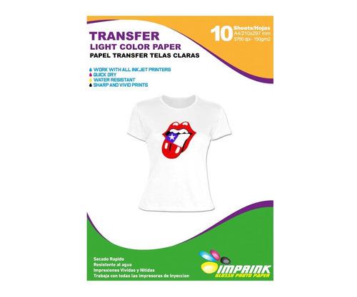 Papel Transfer Telas Claras 20 Hojas. Envio Gratis X 2 Un!