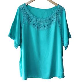 Camisa Feminina Blusa Plus Size Com Detalhe Em Renda 2526