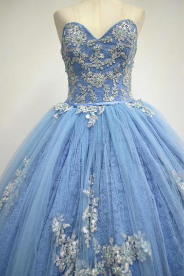 Vestido De Quince Años Nuevo Azul Celeste