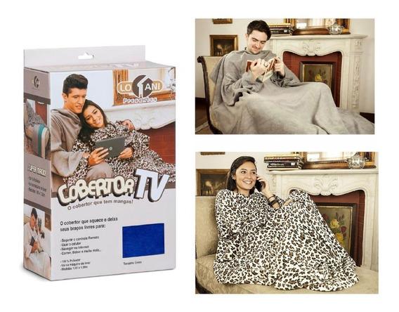 Cobertor De Tv Com Manga Colorido Solteiro Inverno Quentinho