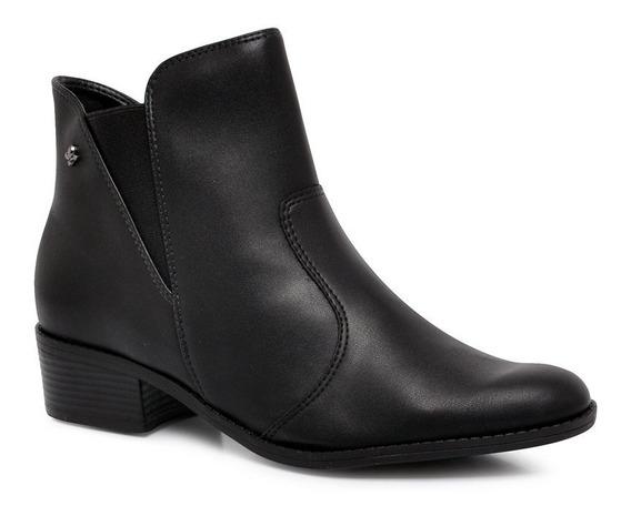 Bota Ankle Boot Cravo E Canela Cano Curto 136829-1 Preto