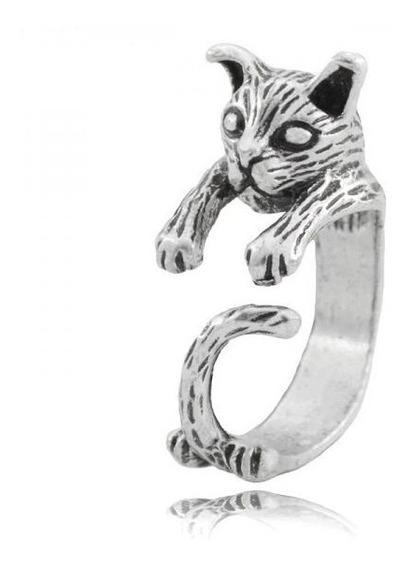 Anillo Gato 3d Unisex Zinc Unitalla Moda Joyeria Trescool